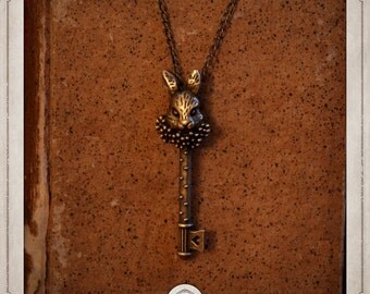 ALICE necklace bronze pendant steampunk key rabbit of Alice in the Wonderland COP019
