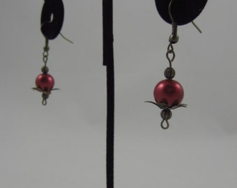 Red Pearl Flower Dangling Earrings