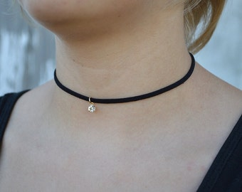 Janet Black or Burgundy Dainty Cute Velvet Tiny Stone Choker Adjustable