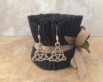 Triquetra Earrings - Charms - Silver Tone