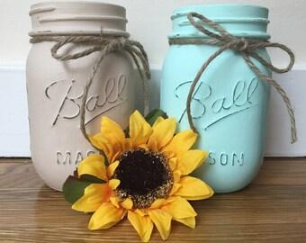 mason jars- hand painted- home decor