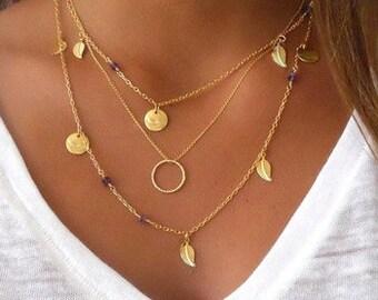 Delicate Triple Row Golden Necklace