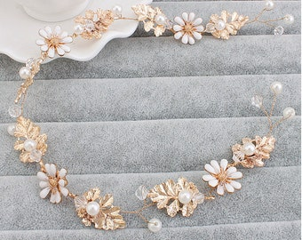 Gold Crown Leaf Flower Alloy Headband. flower headband,hair jewelry, wedding hair piece, hair accessories, gold, white flowers,accessories