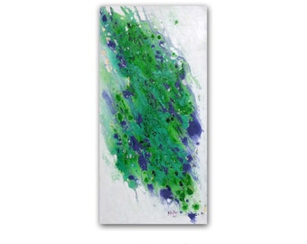 "Abstracr Art Original Painting 12""x24"" Canvas Art  Green ABSTRACT PAINTING Wall Art Canvas Art Green Abstract Canvas Painting Prutski"