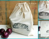 Bread big size canvas drawstring bag for shopping