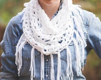 White Crochet Fringe Triangle Infinity Scarf