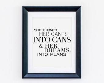 Cants Into Cans Printable - Success Motivational Print - Instant Print - Download - Print Wall Art Now - Art Prints - Wall Decor - Wall Art