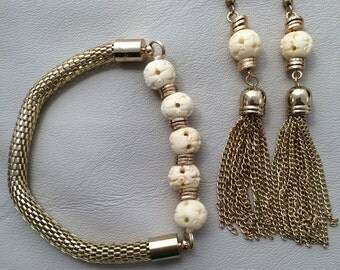 Carved bone  and gold tone chain earrings and bracelet set