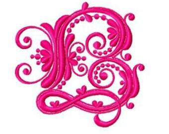 26 Baroque Alphabet, Baroque Font Machine Embroidery Design Pack, Instant Download