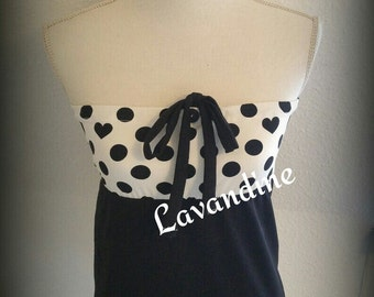 black white dots hearts heart shirt points