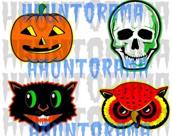 Vintage Style Halloween Die Cut Clip Art