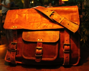 Large Leather Computer Bag/ Large Leather Laptop Bag/ Large Messenger Bag/ 16'' Laptop bag