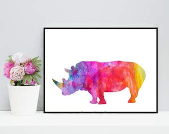 Rhino Watercolor Art Print - Printable Rhinoceros Artwork - Rhino Art Download, rhino watercolor decor, Rhino Wall Art, Digital Download