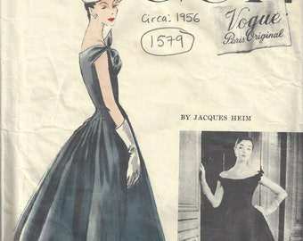 1956 Vintage VOGUE Sewing Pattern B34 DRESS & PETTICOAT (1579) By Jacques Heim Vogue 1337