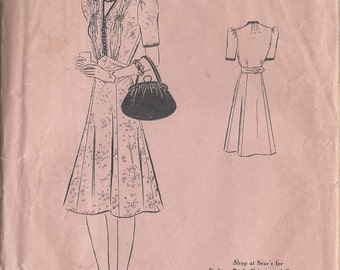 "1940s Vintage Sewing Pattern B48"" DRESS (R323) Superior Pattern 9735"