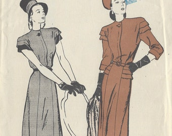 "1940s Vintage Sewing Pattern B38"" DRESS (R389) Butterick 3714"