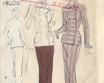 1940s Vintage Sewing Pattern B32 Two-Piece Dress Suit  (1532R) Butterick 5200
