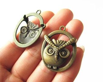 Owl Charm Pendant Antique Brass Drop Handmade Jewelry Finding 28x35mm 2 pcs