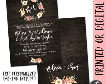 Rustic Engagement Party Invitation, Engagement Party Invite, Floral Engagement Party Invitation, Wood Engagement, Fall Engagement Party,