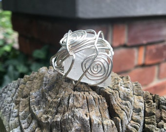 Recycled beach glass, wire wrapped statement ring.