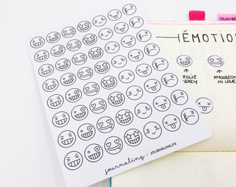 Stickers smileys / emojii  for Bullet Journal, planner, Filofax & Happy Planner etc. 36 stickers smileys / emojii for BuJo dailies.