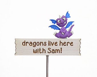 Personalised Miniature Dragon Sign - Custom Sign - Fairy Garden Sign - Miniature Garden Sign, Handmade by Jennifer