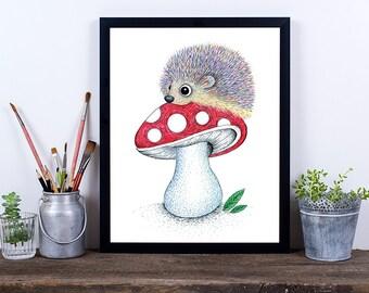 Hedgehog Art Print, Digital Download Art, Printable Art, Downloadable Print, Nursery Print, Pencil Art, Instant Download, Nursery Decor