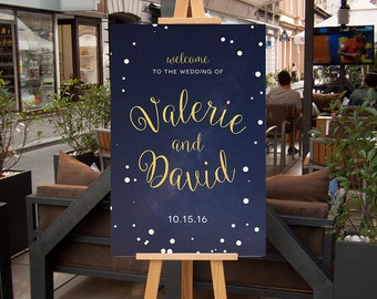Wedding Welcome Poster,  CUSTOM Printable Wedding Welcome Sign, Navy Blue and Gold starry night, Welcome Signage, Printable
