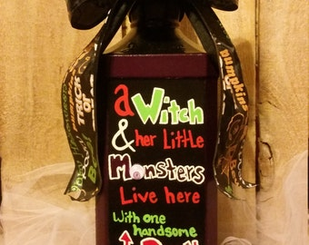 Hand painted Halloween bottle decor