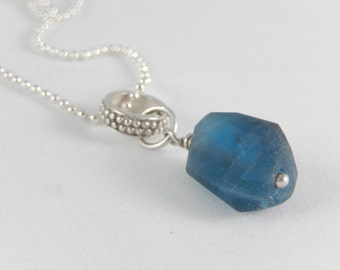 FLUORITE pendant +  ballchain. All Sterling silver and petrol blue gemstone.