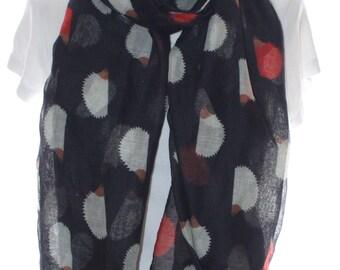 Black hedgehog print scarf, Beach Wrap, Cowl Scarf, Hedgehog print scarf, cotton scarf, gifts for her