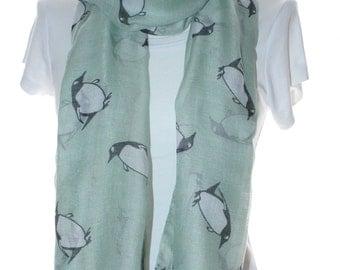 Mint penguin Scarf shawl, Beach Wrap, Cowl Scarf,mint penguin print scarf, cotton scarf, gifts for her