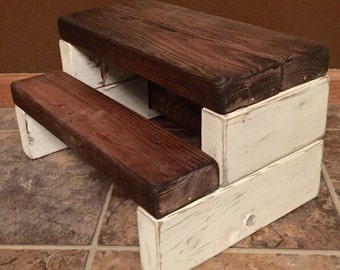 Rustic Kidu0027s Wooden Step Stool - Handmade Shabby Chic Multiple Colors Available & Rustic step stool | Etsy islam-shia.org
