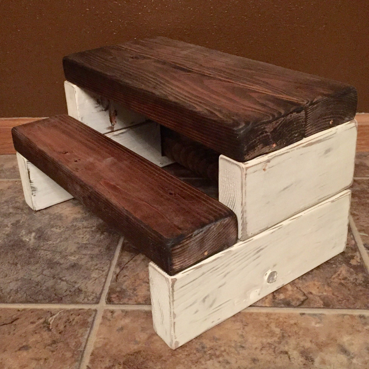 Rustic Kid S Wooden Step Stool Handmade Shabby Chic