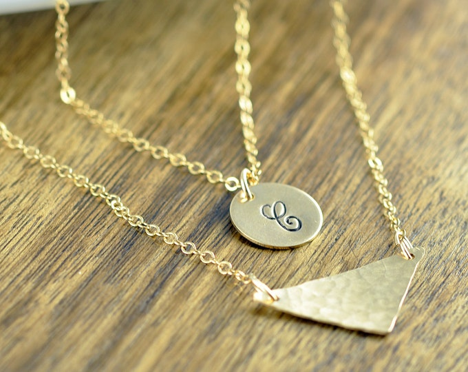 Initial Necklace - Geometric Necklace - Initial Jewelry - Layering Necklaces - Gold Triangle Necklace - Gold Layered Necklace
