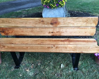 Hnndmade roughsawn cherry and steel bench