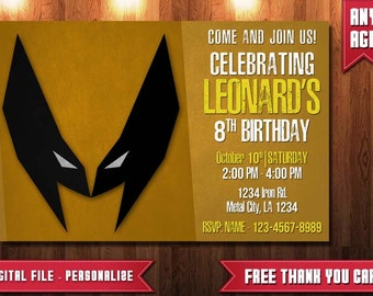 Wolverine Invitation, Printable Wolverine Party, Wolverine Birthday, Wolverine invitations, Wolverine Invite, Superheroes Invite, Wolverine