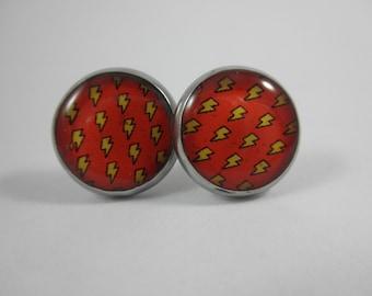 Lightning Bolt Earrings, Lightning Bolt Jewelry, Red and Yellow Lightning Bolt, Lightening Jewelry, Lightening Earrings