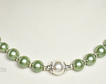 Pearl Bridal Jewelry Wedding necklace Pearl Necklace green white wedding shimmering bride charming Pearl Necklace wedding party