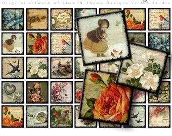 "Sweet Vintage Victorian Birds / scrabble tiles 1"" squares / collage sheets / vintage ephemera / scrapbook paper / magnet supply / roses AG"