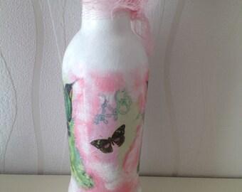 Hummingbird decoupage glass bottle/bud vase, pastel colours, home decor, glass bottle, butterfly, pretty ornament