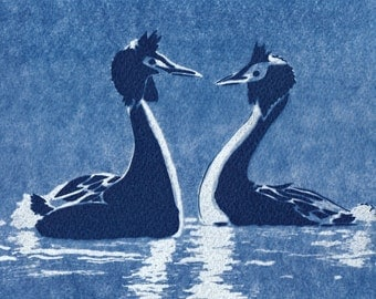 Courting Couple Cyanotype