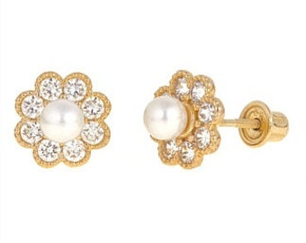 Genuine Pearl Screw Back Earrings in 14K Gold for Children