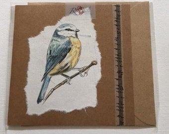 Handmade Bluetit blank greetings card.