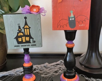 Solid Wood/Halloween Decoration/Sign/Haunted House/Bat/Spider/Frankenstein/Home Decor/Party Decoration