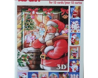 Book leaves 3D cutting, gluing, cardmaking Santa 607