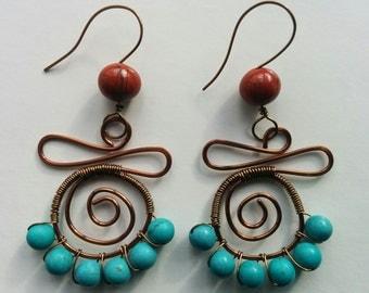 Handmade Blue Magnesite & Red Jasper Earrings/Women's Jewellery/Women's Earrings/Dangle Earrings/Gifts For Her/Gifts