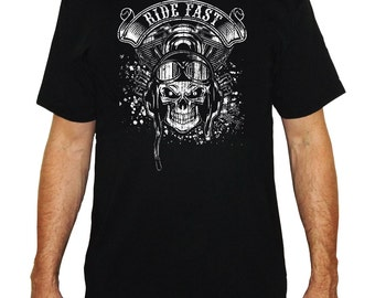 Black biker t-shirt screen printing