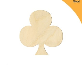 Clubs Wood Cutout Shape, Laser Cut Wood Shapes, Crafting Shapes, Gifts, Ornaments Clubs Shape
