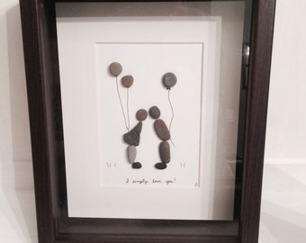 """I Simply Love You PEBBLE ART FRAMED ~ Medium, 8 x 10"""", Matted W/ Black Frame ~ Special & Unique Christmas and Gift Idea, can be Customized !"""